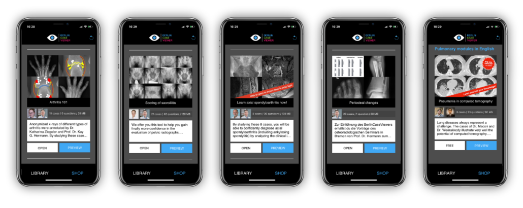 iPhones showing BerlinCaseViewer e-learning content